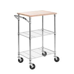 Chrome 2 Shelf Urban Rolling Cart
