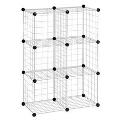 6-Pack Modular Mesh Storage Cube, Silver