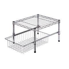 Adjustable Shelf With Under Cabinet Organizer, Chrome Plated Steel