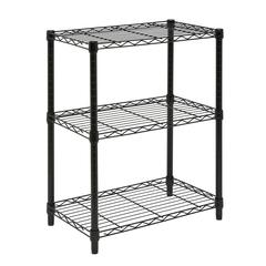 3-Tier Black Shelving Unit - 250 Lbs
