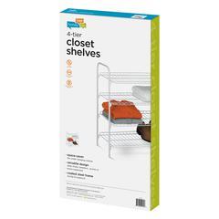 4-Tier Wire Shoe & Accessory Shelf/Closet Shelves, White