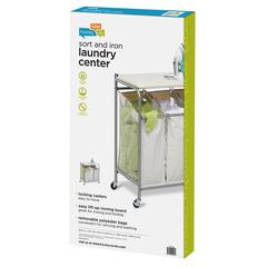 Ironing And Sorter Combo Laundry Center, Natural Color Board/Natural Bags
