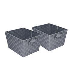 Honey Can Do 2Pk Woven Baskets, Gray, Silver