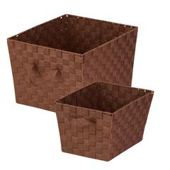2-Pc Woven Basket Set, Chocolate, Java Brown