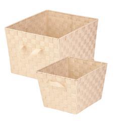 2-Pc Woven Basket Set, Creme