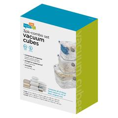 3-Pack Combo Set Vacuum Cubes, Clear