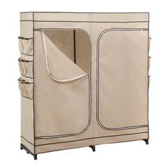 Honey Can Do 60In Double Door Storage Closet With Shoe Organizer, Khaki / Brown Trim