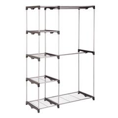 Double Rod Freestanding Closet, Silver / Black