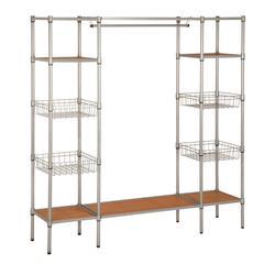 Freestanding Steel Closet With Basket Shelves, Powder Coat / Plastic
