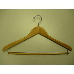 Proman Products Suit Hanger with Lock Bar Natual Lacquer