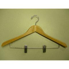 Suit Hanger with Wire Clips Natural Lacquer