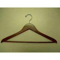 Proman Products Coat Hanger with Wooden Bar Light Walnut