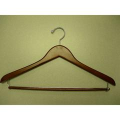 Proman Products Genesis Flat Suit Hanger with Lock Bar Light Walnut