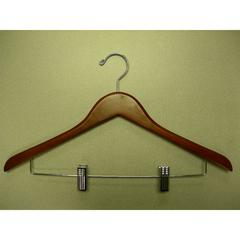 Genesis Flat Suit Hanger with Wire Clips - Light Walnut