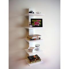 Spine Wall Book Shelves White
