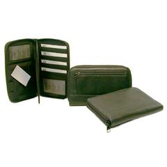 Luxurious Japanese drum dyed (JDD) Luxurious Soft Leather zip around organizer w/ flap and credit card slots
