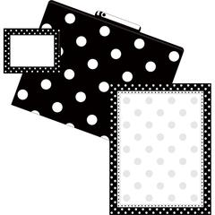 Get Organized Black Dots - Set of 12 File Folders, 50 Sheets Paper, 45 Labels