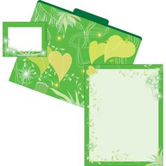 Barker Creek Get Organized Go Green - Set of 12 File Folders, 50 Sheets Paper, 45 Labels
