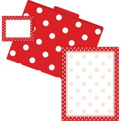 Barker Creek Get Organized Red Dots - Set of 12 File Folders, 50 Sheets Paper, 45 Labels