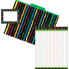 Barker Creek Get Organized Neon Stripes - Set of 12 File Folders, 50 Sheets Paper, 45 Labels