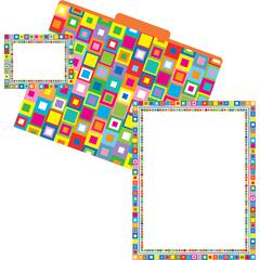 Barker Creek Get Organized - What a Square - Set of 12 File Folders, 50 Sheets Paper, 45 Labels