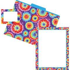 Barker Creek Get Organized - Tie Dye - Set of 12 File Folders, 50 Sheets Paper, 45 Labels