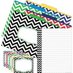 Get Organized - Chevron Nautical - Set of 12 File Folders, 50 Sheets Paper, 45 Labels