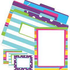 Barker Creek Get Organized Kit - Happy - Set of 12 File Folders, 50 Sheets Paper, 45 Labels