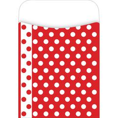 Barker Creek Peel & Stick Red & White Dot Pockets Set of 30