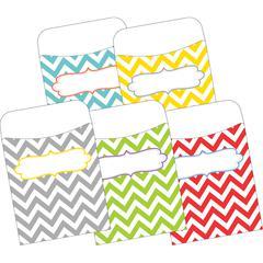 Peel & Stick Pockets - Chevron Beautiful, Multi-Design Set of 30