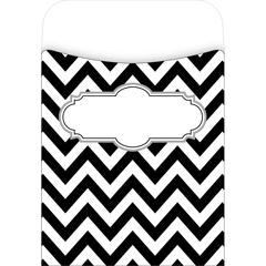 Peel & Stick Pockets - Chevron Black Tie Affair, Multi-Design Set of 30