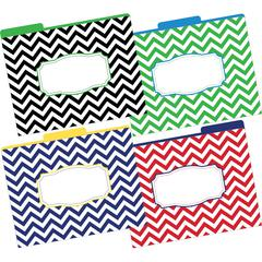 Chevron Nautical File Folders, Multi-Design Set of 12