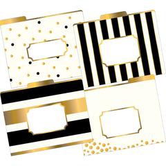 Gold File Folders, Multi-Design Set of 12