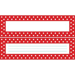 Double-Sided Bulletin Board Signs / Name Plates - Red & White Dot Set of 36