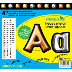 "Barker Creek Heavy Metal 4"" Letter Pop-Outs (245 Characters)"