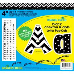 "4"" Letter Pop-Outs - Black Chevron & Dots (255 Characters)"