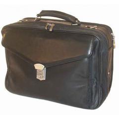 Black Soft Nappa Leather Laptop Briefcase /w Organizer
