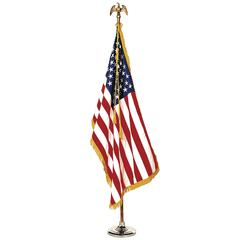 COMPLETE MOUNTED US FLAG SET 3X5 8 FT POLE