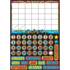 "Ashley Superhero Magnetic Calendar Set - Superhero, Fun Theme/Subject - Write on/Wipe off, Built-in Magnet - 12"" Width x 17"" Depth - Multicolor - 1 / Set"