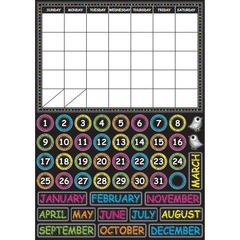 "Ashley Chalkbrd Design Calendar Set - Fun, Scribble Chalk Theme/Subject - Write on/Wipe off, Built-in Magnet - 12"" Width x 17"" Depth - Multicolor - 1 / Set"