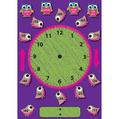 Ashley Birds/Owls Clock Bulletin Board Set - Clock Theme/Subject - Magnetic - 1 / Set