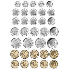 Magnetic Australian Coin 8X11 34 Pc, Set Die Cut Sheet