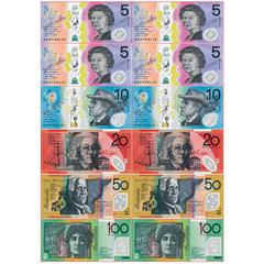 Magnetic Australian Currency 12 Pc, Die Cut Sheet 8X11