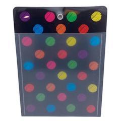 12Pk Pocket Chalk Dot Grommett Hole, Poly Clear Front 10X13