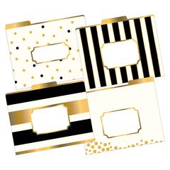 LETTER SIZE FILE FOLDERS GOLD MULTI-DESIGN SET