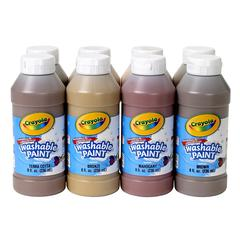 CRAYOLA MULTICULTURAL WASHABLE PAINT 8 ASST 8OZ BOTTLES