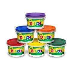 DOUGH SET OF 6 TUBS RED ORANGE GREEN YELLOW PURPLE BLUE