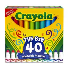 Washable Markers, Broad Point, Assorted Classic Colors, 40/Set