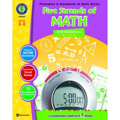 CLASSROOM COMPLETE PRESS DRILL SHEETS FIVE STRANDS OF MATH BIG BOOK GR 6-8 PRINCIPLES MATH