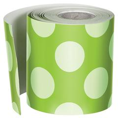 Lime W Polka Dots Straight Borders, School Girl Style